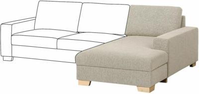 IKEA SÖRVALLEN Récamierenelement - rechts/Lejde dunkelbeige