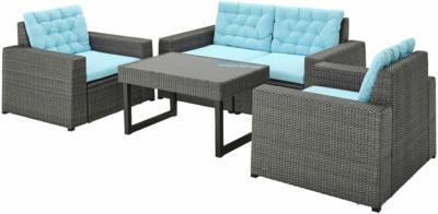 IKEA SOLLERÖN 4er-Sitzgruppe/außen - dunkelgrau/Kuddarna hellblau