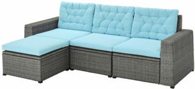 IKEA SOLLERÖN 3er-Sitzelement/außen - mit Hocker dunkelgrau/Kuddarna hellblau