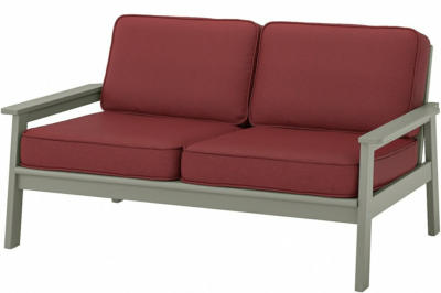IKEA BONDHOLMEN 2er-Sofa/außen - grau lasiert/Järpön/Duvholmen braunrot