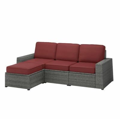 IKEA SOLLERÖN 3er-Sitzelement/außen - mit Hocker dunkelgrau/Järpön/Duvholmen braunrot