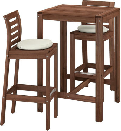 IKEA ÄPPLARÖ Bartisch + 2 Barstühle/außen - braun lasiert/Frösön/Duvholmen beige