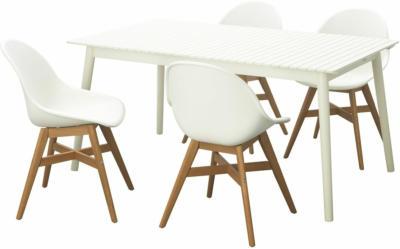 IKEA HATTHOLMEN / FANBYN Tisch+4 Stühle/außen - weiß/weiß