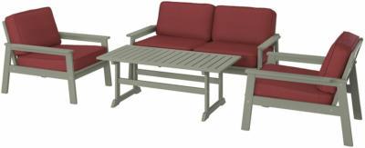 IKEA BONDHOLMEN 4er-Sitzgruppe/außen - grau lasiert/Järpön/Duvholmen braunrot