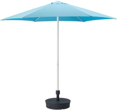 IKEA HÖGÖN Sonnenschirm mit Ständer - hellblau/Grytö dunkelgrau