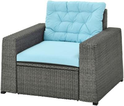 IKEA SOLLERÖN Sessel/außen - dunkelgrau/Kuddarna hellblau