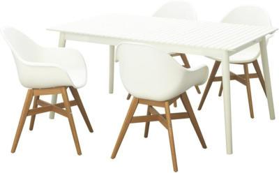 IKEA HATTHOLMEN / FANBYN Tisch+4 Armlehnstühle/außen - Eukalyptus weiß/weiß