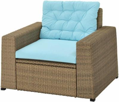 IKEA SOLLERÖN Sessel/außen - braun/Kuddarna hellblau