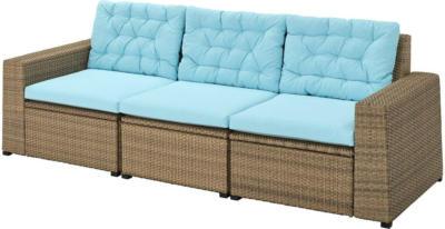 IKEA SOLLERÖN 3er-Sitzelement/außen - braun/Kuddarna hellblau