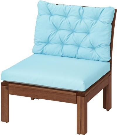 IKEA ÄPPLARÖ Sessel/außen - braun lasiert/Kuddarna hellblau
