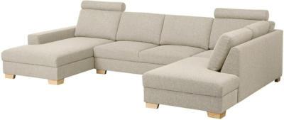 IKEA SÖRVALLEN Ecksofa 4-sitzig - mit Récamiere links/Lejde dunkelbeige