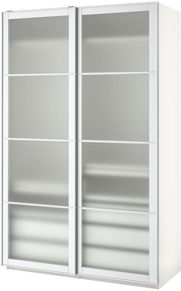 IKEA PAX Kleiderschrank / Kasten - weiß/Nykirke Frostglas kariert