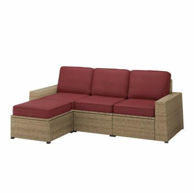IKEA SOLLERÖN 3er-Sitzelement/außen - mit Hocker braun/Järpön/Duvholmen braunrot