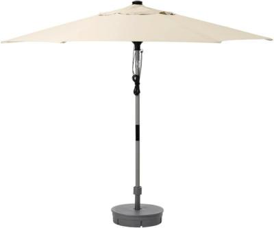 IKEA BETSÖ / LINDÖJA Sonnenschirm mit Ständer - Holzeffekt grau beige/Grytö