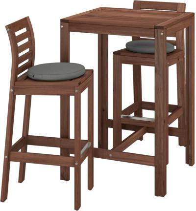 IKEA ÄPPLARÖ Bartisch + 2 Barstühle/außen - braun lasiert/Frösön/Duvholmen dunkelgrau