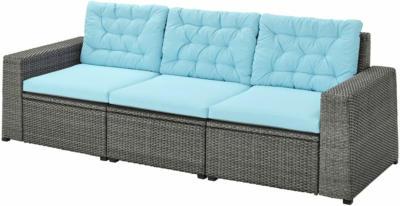 IKEA SOLLERÖN 3er-Sitzelement/außen - dunkelgrau/Kuddarna hellblau