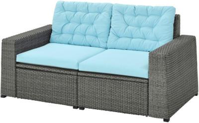 IKEA SOLLERÖN 2er-Sitzelement/außen - dunkelgrau/Kuddarna hellblau