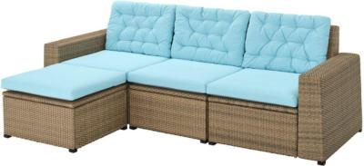IKEA SOLLERÖN 3er-Sitzelement/außen - mit Hocker braun/Kuddarna hellblau