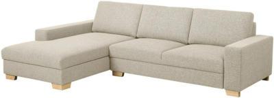 IKEA SÖRVALLEN 3er-Sofa - mit Récamiere links/Lejde dunkelbeige