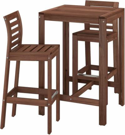 IKEA ÄPPLARÖ Theke + 2 Barstühle - braun lasiert