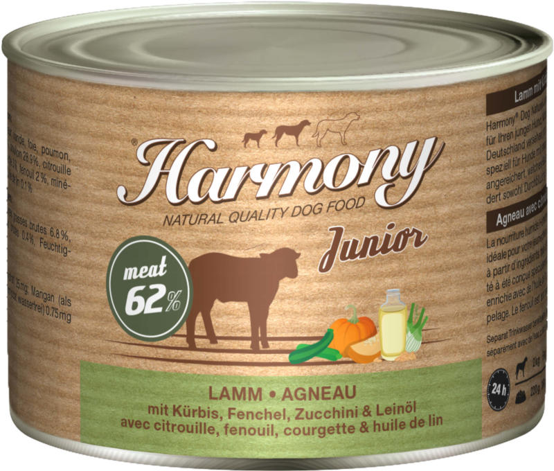 Harmony Dog Natural Nassfutter Junior Lamm 6x200g