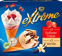 Cornets Extrême Frisco, assortis: Fraise, Vanille, 6 x 145 ml