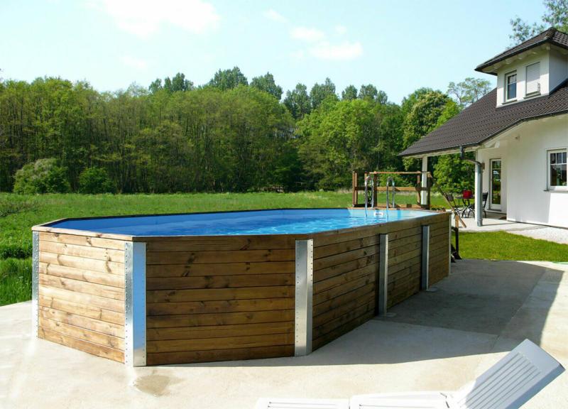 "Holzpool ""594 A"", 376x850 cm Bausatz Pool, Technikraum"