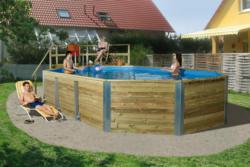 "Holzpool ""594 A"", 376x850 cm, Sparset Bausatz Pool, Technikraum, Filteranlage"