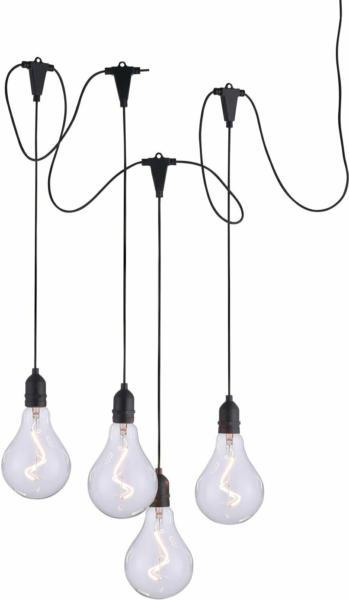 LED-Außen-Pendelleuchte Enni 4-flammig Schwarz IP44 Warmweiß