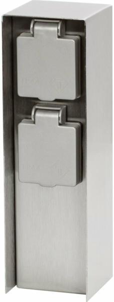 2-fach Steckdosensäule IP44 Silber