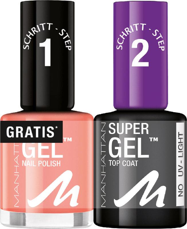 MANHATTAN Cosmetics Nagellack Set Super Gel Polish + Top Coat Coral Island 145