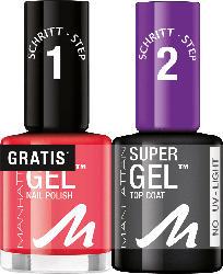 MANHATTAN Cosmetics Nagellack Set Super Gel Polish + Top Coat Devious Red 625