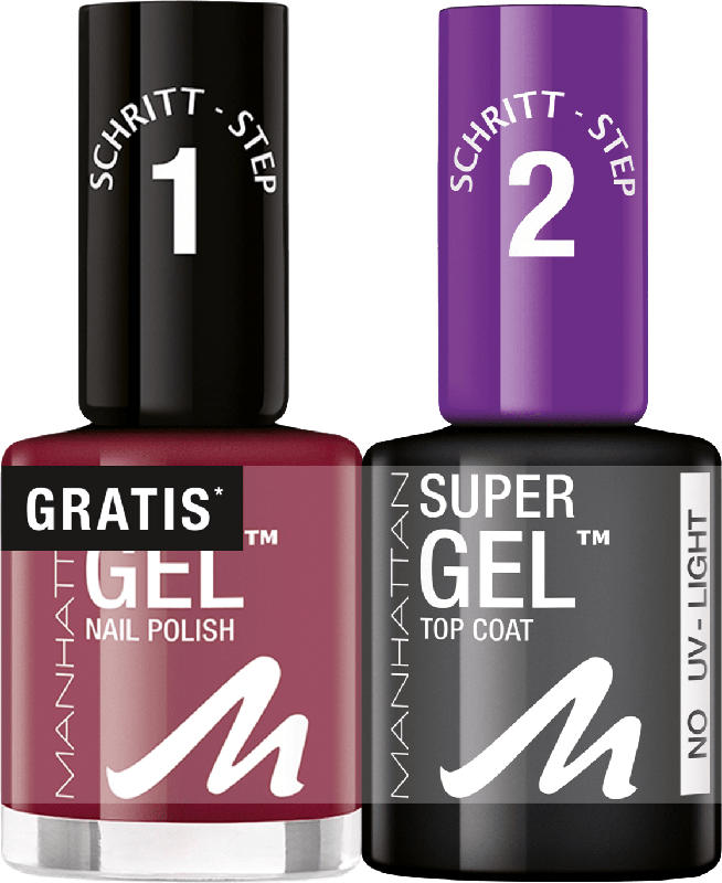 MANHATTAN Cosmetics Nagellack Set Super Gel Polish + Top Coat Seductive Red 685