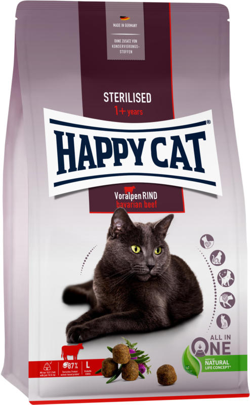 Happy Cat Croquettes Sterilised Boeuf des Préalpes 4kg