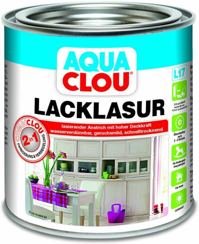 """Clou L17 Aqua Lacklasur """"Dunkelbraun"""", 375 ml"""