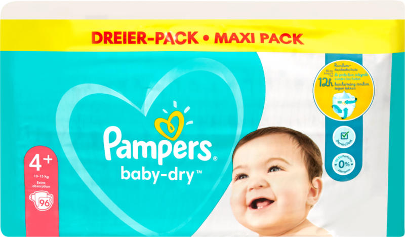 Couches Baby-Dry Pampers, Taille 4+ (Maxi Plus), 10-15 kg, 96 pièces