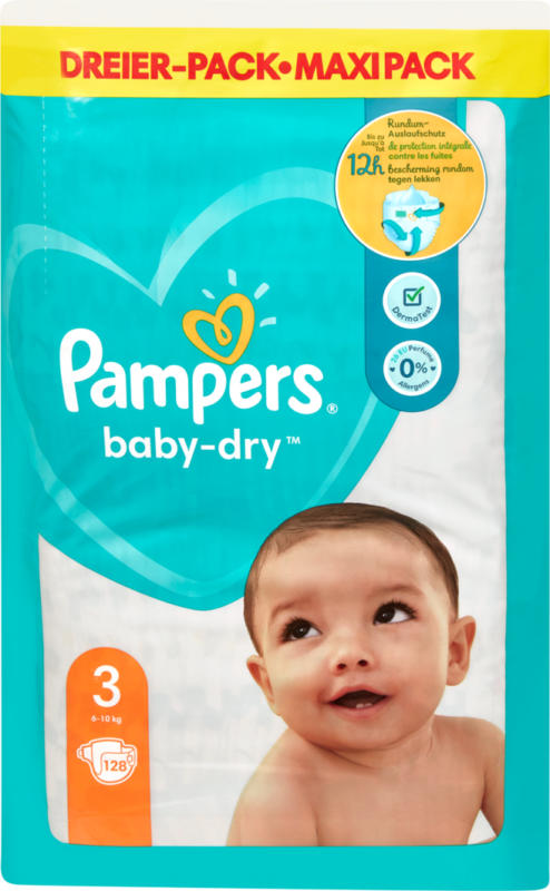 Couches Baby-Dry Pampers, Taille 3 (Midi), 6-10 kg, 128 pièces