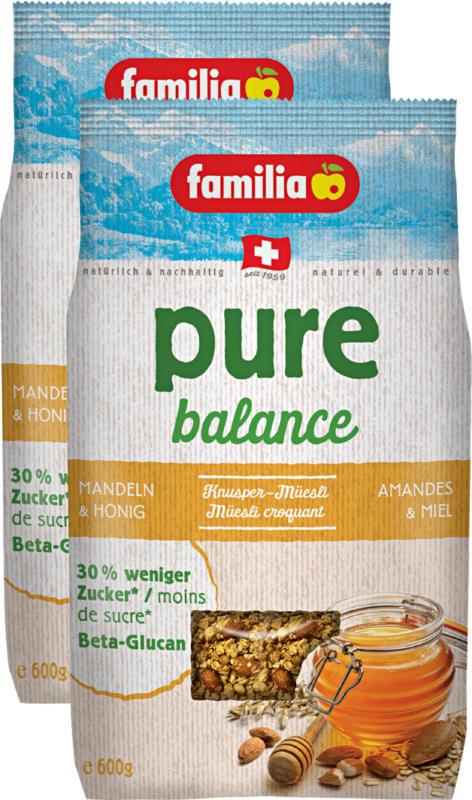 familia pure balance Knuspermüesli, Mandeln & Honig, 2 x 600 g