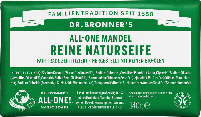 Dr.Bronner's Seifenstück Reine Naturseife Mandel