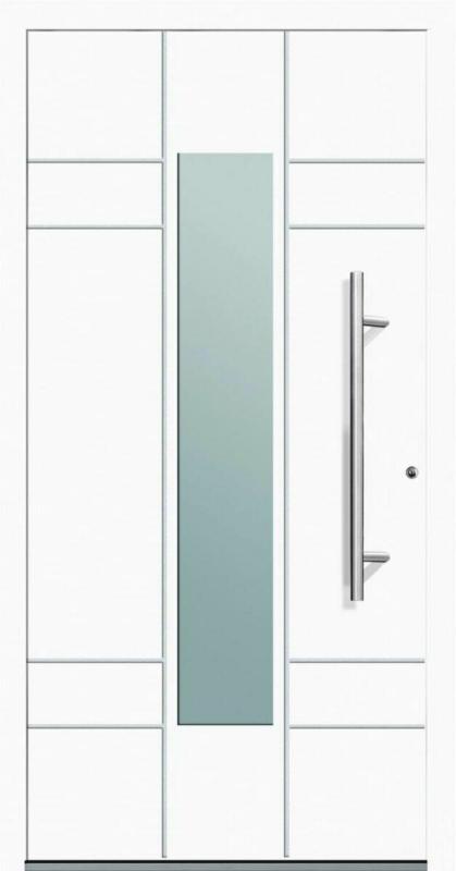 "Aluminium Sicherheits-Haustür ""Como Exklusiv"", 75mm, weiß, 100x210 cm, Anschlag rechts, inkl. Griffset 100 cm   rechts"