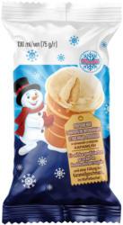 Eis mit karamellisiertem gezuckerten Kondensmilcherzeugnis und einer Füllung mit Karamellgeschmack im Waffelbecher