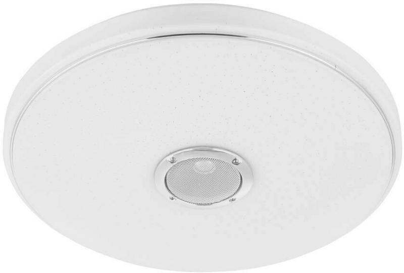 LED Deckenleuchte mit Kristalleffekt und BT-Lautsprecher Weiß Kunststoff D40 cm