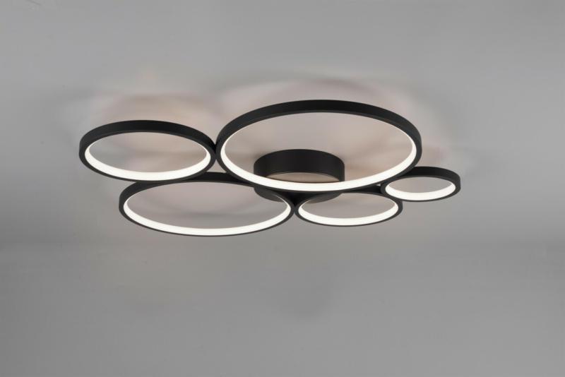 Deckenleuchte Metall Schwarz matt B59cm H5,5cm L53cm