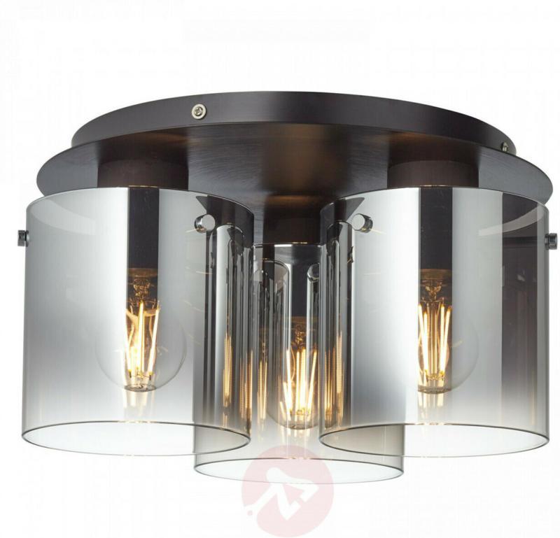 Deckenleuchte Schwarz, Metall/ Rauchglas D35 cm