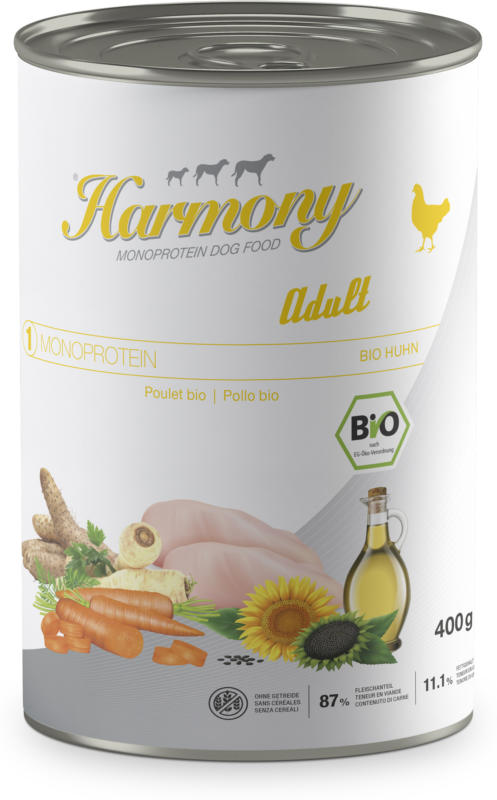 Harmony Dog Monoprotéine Bio Adult Poulet nourriture pour chiens 400g