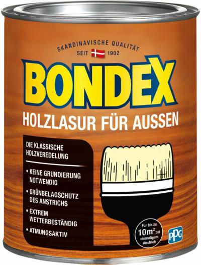 Bondex Holzlasur für Außen Teak seidenglänzend 750 ml