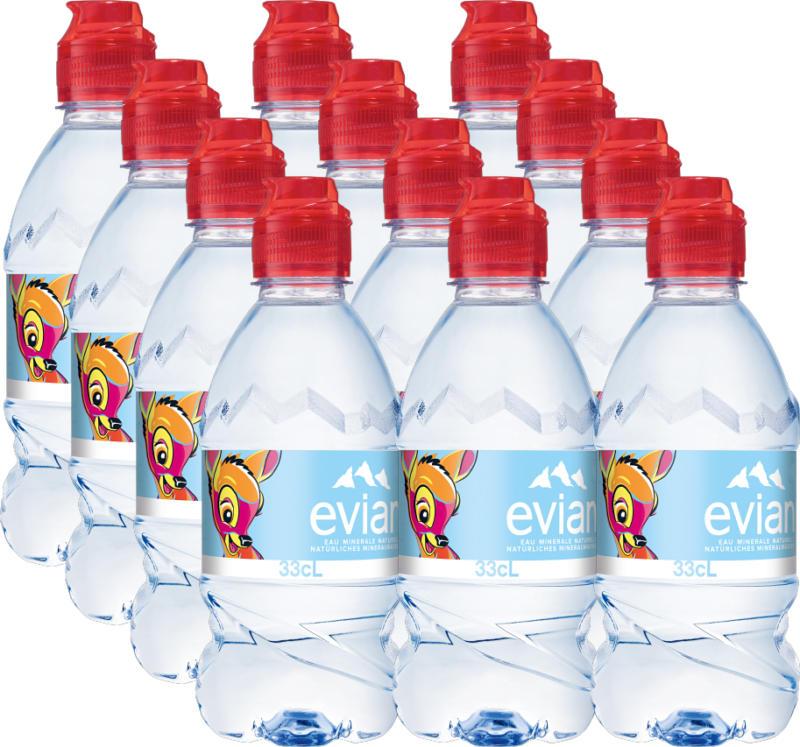 Acqua minerale con tappo push & pull Evian, non gassata, 12 x 33 cl