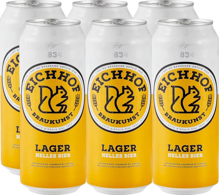 Birra lager chiara Eichhof, 6 x 50 cl