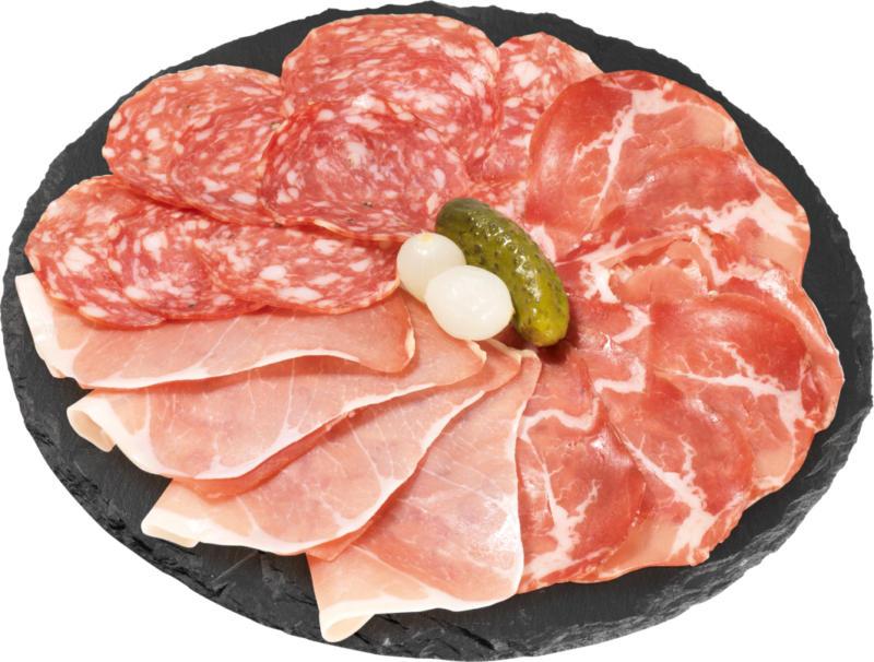 Piatto di antipasti Negroni , assortiti: salame Milano, prosciutto crudo italiano, coppa, 120 g