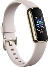 FITBIT Luxe - Bracelet d'activité (S: 140-180 mm / L: 180-220 mm, Silicone, Blanc lunaire/Acier inoxydable or pâle)